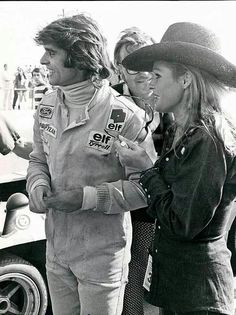 Francois Cevert & Ursula Andress  @ The Glen Can Am 1972  Chris Economaki between them !