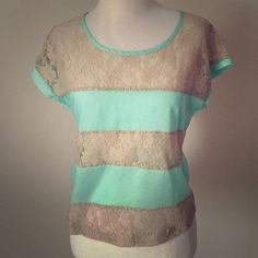 Beautiful teal and lace top Adorable top from Wet Seal! Striped with teal and nude colored flowery lace Wet Seal Tops