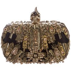 Pre-owned Alexander McQueen Embroidered Punk Skull Clutch Bag (32.360.330 VND) ❤ liked on Polyvore featuring bags, handbags, clutches, gold, beaded purse, gold clutches, gold handbags, embroidered purse and handbag purse