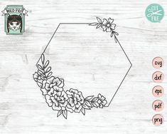 6c99a9dc5 Floral Frame SVG, Floral Frame cut File, Hexagon Flower Frame, Floral  Wedding Template, Wedding Sign