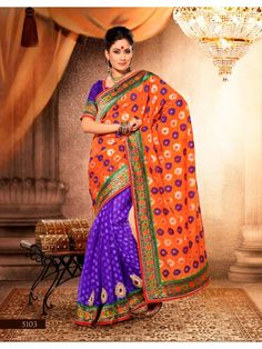 Touch Trends Orange Embroidered Saree