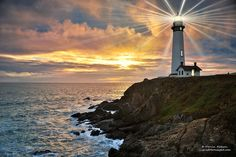 Sunset at Pigeon Point Lighthouse, California Pacific Coast.  By Darvin Atkeson.