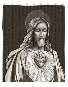 Mijn tekening van het heilig hart van Jezus was eerst met de hand getekend met…