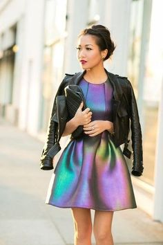 Glow :: Iridescent dress & Cropped jacket Holiday Glow :: Iridescent dress-Big time home-run hitter and attention getter. He'll notice this one Holiday Glow :: Iridescent dress-Big time home-run hitter and attention getter. He'll notice this one Women's Dresses, Neon Dresses, Pretty Dresses, Beautiful Dresses, Vestidos Neon, Crop Dress, Scuba Dress, Nye Outfits, Dress Outfits