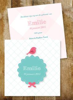 Geboortekaartje meisje. Ben je op zoek naar een uniek geboortekaartje? www.letterlijn.nl