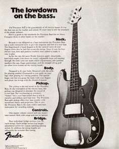 """Here's a 1971 ad that was sparked by the popularity of James Jamerson's iconic 1962 """"Funk Machine"""" P-Bass. – with Fender Guitar Fender Bass Guitar, Fender Electric Guitar, Fender Guitars, Guitar Amp, Acoustic Guitar, Fender Precision Bass, Jazz, Vintage Guitars, Fender Vintage"""