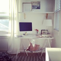 Such a pretty home office nook via Grey and Scout. Great for guest room/ office. Need flowy curtains