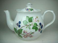 Vintage Arthur Wood England Pink Blue Purple Florals w Gold Accents Teapot | eBay