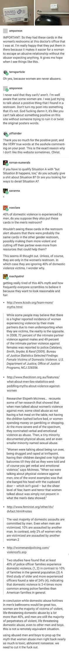 That?s only because we only count physical abuse as abuse. It?s so much more likely for women to be emotional abusers in a relationship than physical