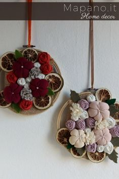 Floral wall decor Embroidery hoop wall art Fabric flowers and dried fruit Hanging home decoration #homedecor #handmade #textileart