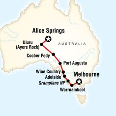 Map of the route for Outback to The Great Ocean Road in Style (G Adventures)