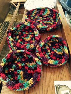 Crocheted Baskets made from yarn then sprayed for stiffening. Great for all kinds of things, even a hostess gift filled with cookies!