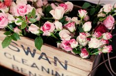 A vintage box filled with roses... pure bliss