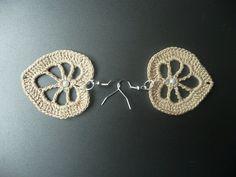 Beige Crochet Earrings, Crochet Jewelry, Eco friendly, Woman, Girl