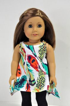 Feather Print Sleeveless Tunic by CircleCSewing on Etsy. Made using the Twirly Tunic pattern, found here http://www.pixiefaire.com/products/twirly-tunic-18-doll-clothes. #pixiefaire #twirlytunic