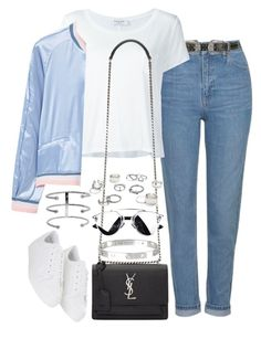 """""""Untitled #2026"""" by sarah-ihab ❤ liked on Polyvore featuring Topshop, Frame Denim, Yves Saint Laurent, MANGO, Cartier, Free People and Jennifer Fisher"""