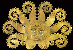 An ancient Peruvian headdress, depicting a sea god, dates back to 700AD. It is an example of ancient Peruvian Mochica civilisation art and is regarded by experts as one of the most important artefacts in Peruvian cultural heritage.