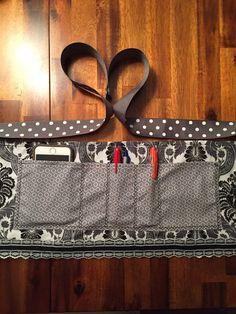Black and White Damask half apron, teacher apron, vendor apron, gardening apron, waitress apron.