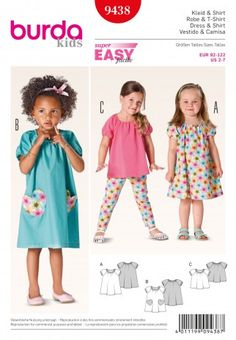 Burda Childrens Easy Sewing Pattern 9438 Dresses & Tops | Sewing | Patterns | Minerva Crafts