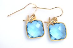 Square Quartz Earrings by GlassPoppies - blue topaz with petite gold sea stars