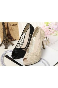 50b5dcb6c Sexy Hollow-out Fish Lips Shoes ✿ High Heel Pumps