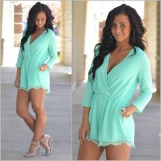 Available at Apricot Lane Peoria, IL; Normal, IL; and Champaign, IL. Give us a call - WE SHIP! (309) 691-2230 #romper #mint #lace