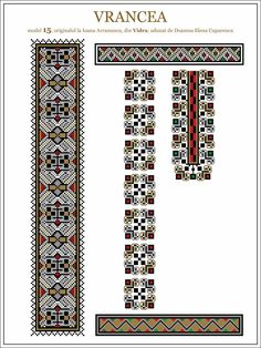 Semne Cusute: iie din Vidra, Vrancea, MOLDOVA Folk Embroidery, Embroidery Patterns, Knitting Patterns, Cross Stitch Borders, Cross Stitch Patterns, Palestinian Embroidery, Borders And Frames, Moldova, Beading Patterns