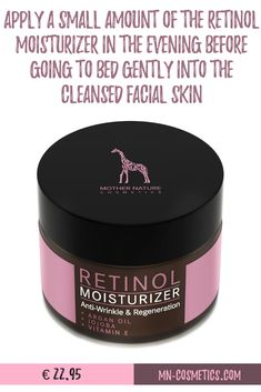 Apply a small amount of the Retinol Moisturizer in the evening before going to bed gently into the cleansed facial skin. Vitamin E, Retinol Creme, Tumblr Messages, Anti Aging, Argan Oil, Anti Wrinkle, Natural Living, Natural Remedies, Healthy Life