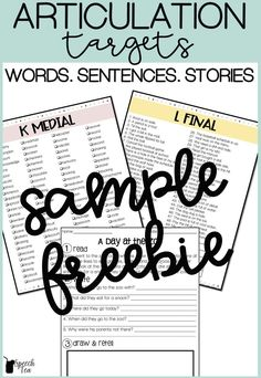 FREE articulation word lists, sentence lists, and stories! Stories include WH questions and draw and retell. Perfect for preschool, elementary, school-aged, middle school, and more. Perfect for the busy SLP who needs no-prep tools. Use during activities, games, teletherapy, distance learning, homework, and carryover. Click for more info. #speechtherapy #articulation #slp