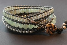 Gorgeous 5 wrap bracelet featuring excellent quality Aventurine Gem Stone.