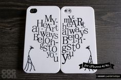 So cute! iPhone 4 Cases for Couple  Set of 2  Love Message by CocoonByWL, $21.00 #Etsy #cover