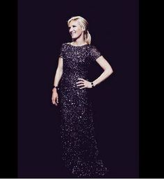 Jo Whiley Sparkles and Shines in this Bead and #Sequin #Gown by Adrianna Papell at the #Bbc Music Awards 2014 Earls Court. #celebstyle #gown