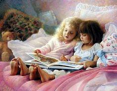Greg Olsen, brings back childhood memories. People Reading, Kids Reading, Bedtime Reading, Book People, Reading Books, I Love Books, Good Books, Greg Olsen Art, Storybook Cottage