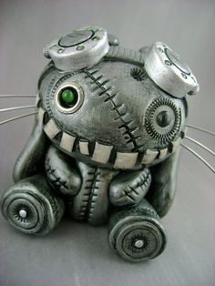 Steambunneh - Fully Customizable - Freestanding Industrial Steampunk Bunny Sculpture Monster Kookies on Etsy.