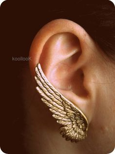 Gorgeous gold winged earings
