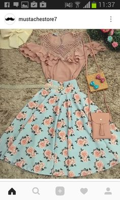 Hermosa combinación Wow imagine the looks you could serve wearing this . Teen Fashion Outfits, Cute Fashion, Modest Fashion, Fashion Dresses, Modest Outfits, Skirt Outfits, Summer Outfits, Casual Outfits, Pretty Outfits