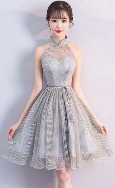 Gray high neck short prom dress, gray homecoming dress Gray short dress with high collar, gray dress for the homecoming Grey Evening Dresses, Prom Dresses For Teens, Elegant Dresses, Homecoming Dresses, Sexy Dresses, Cute Dresses, Beautiful Dresses, Short Dresses, Fashion Dresses