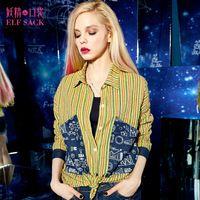 ELF SACK fashion brand new arrival 2015 spring women patchwork print stripe casual shirt turn-down collar pocket free shipping