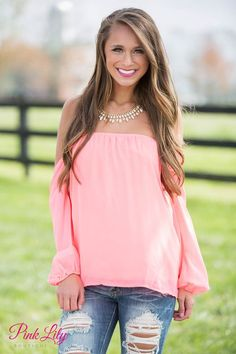 Neon Pink Off The Shoulder Blouse