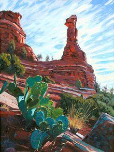 Landscape painting of the Kachina Woman in Boynton Canyon north of Sedona, Arizona. Watercolor Landscape, Landscape Art, Landscape Paintings, Painting Inspiration, Art Inspo, Southwestern Art, Mexico Art, Desert Art, Fantasy Paintings