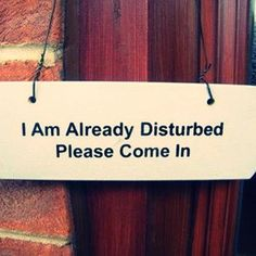 I am already disturbed.  Please come in.
