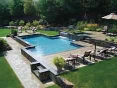 Laps of Luxury - Westchester Home - Summer 2009 - Westchester, NY Geometric Pool, Outdoor Living, Outdoor Decor, In Ground Pools, Edge Design, Dream Big, Swimming Pools, Spa, Patio