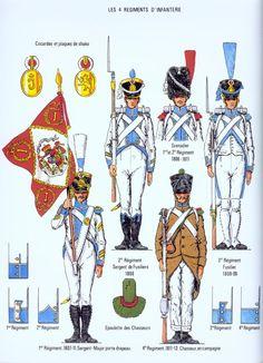 Westphalia; Line Infantry, Top Left,Clockwise - 2nd Regt, Fusilier Sergeant, 1808. 1st or 2nd Regt, Grenadier, 1806-11. 3rd Regt, Fusilier 1808-09. 4th Regt. Chasseur, Tenue de Campagne, 1811-13 & 1st Regt Sergeant Major Porte Etandard, 1807-11.