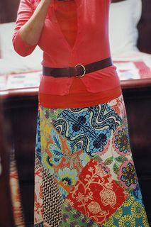 Amy Butler Lark patchwork skirt