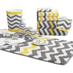 Yellow And Grey Bath Rugs