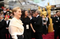 Meryl Streep (Don Gummer in background (R)) - Arrivals at the 86th Annual Academy Awards — 2014