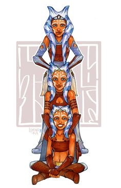 Ahsoka Tano, from bottom to top: clone wars season 1 and 2, clone wars season 3-4, star wars rebels