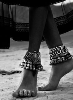 beautiful....... Silver ankle bracelets, ankle bells and charms. Exotic. Jewelry.