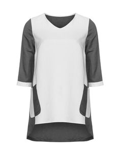 Isolde Roth Bicolour high low T-shirt in Grey / White