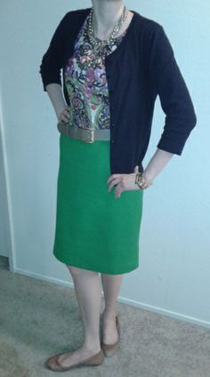 M11Feb13--Navy cardi (Talbots) over paisley blouse (Talbots) over green plush pencil (Talbots). Gold tone pearl multistrand necklace (Ann), taupe leather belt (Talbots), gold tone bracelet (Banana), gold cuff (Ann) and nude ballet flats (Talbots).